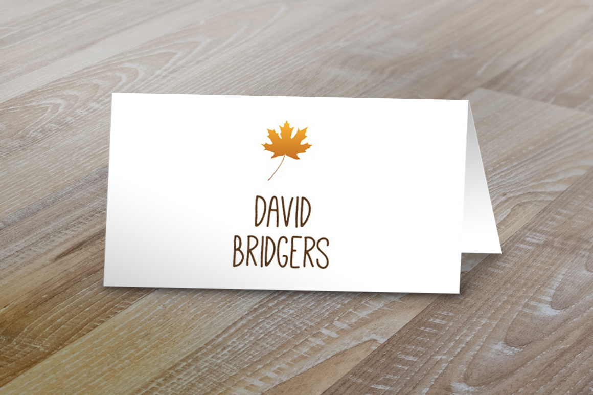 fall table tent name cards card templates on creative market. Black Bedroom Furniture Sets. Home Design Ideas