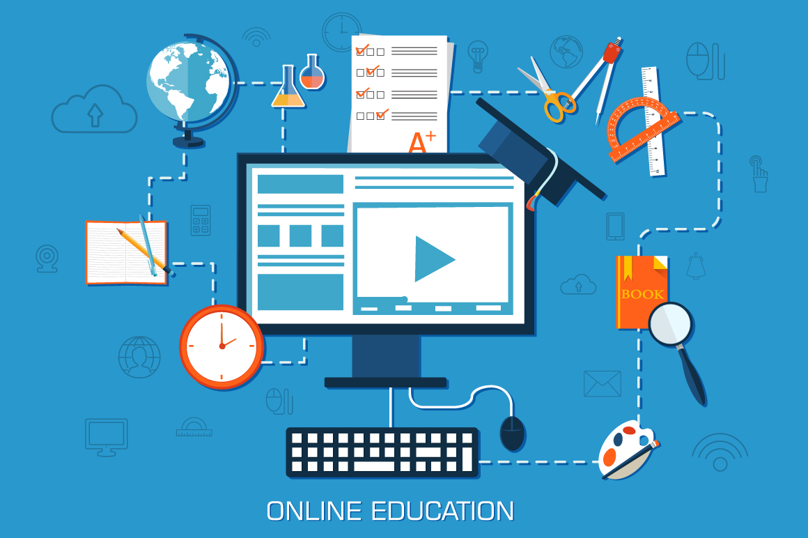 Virtual Classroom Design And Implementation ~ Online education background concept illustrations on