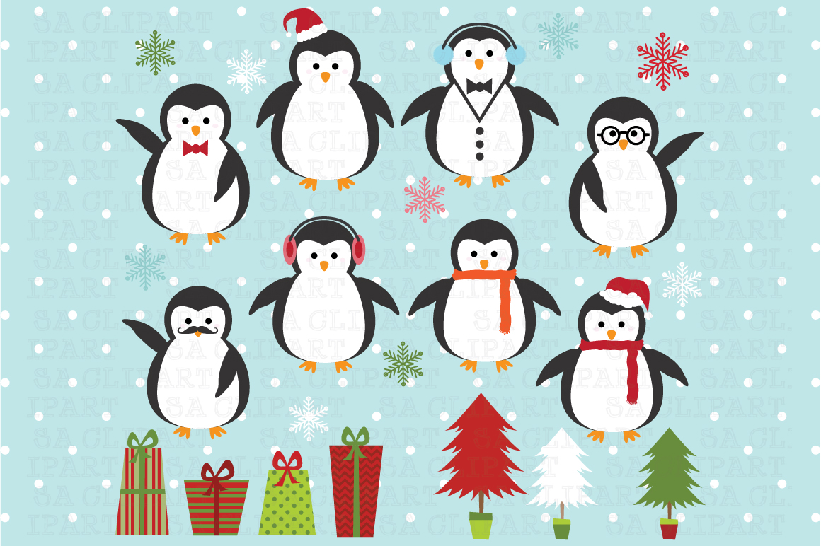 Christmas Penguin Clipart Illustrations On Creative Market