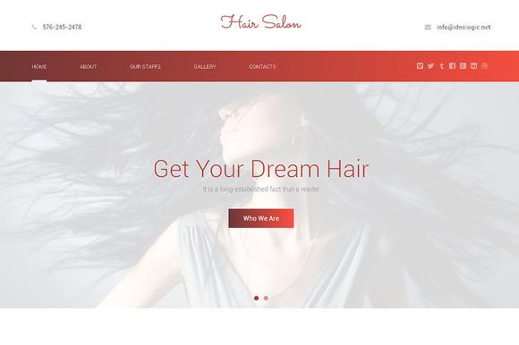 Hair Salon Responsive One Page Theme - HTML/CSS - 1