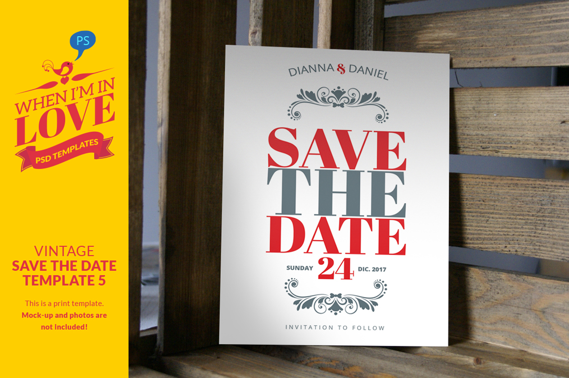 Vintage save the date template 5 invitation templates on for Free vintage save the date templates