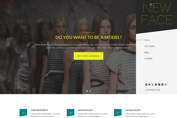 New Face Responsive One Page Theme - HTML/CSS - 1
