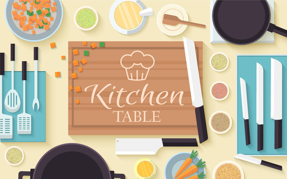 Flat Kitchen Table Vector Concept