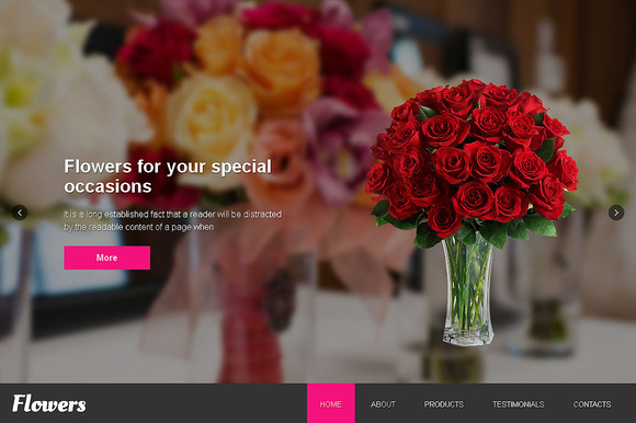 Flowers Responsive One Page Theme - Websites - 1