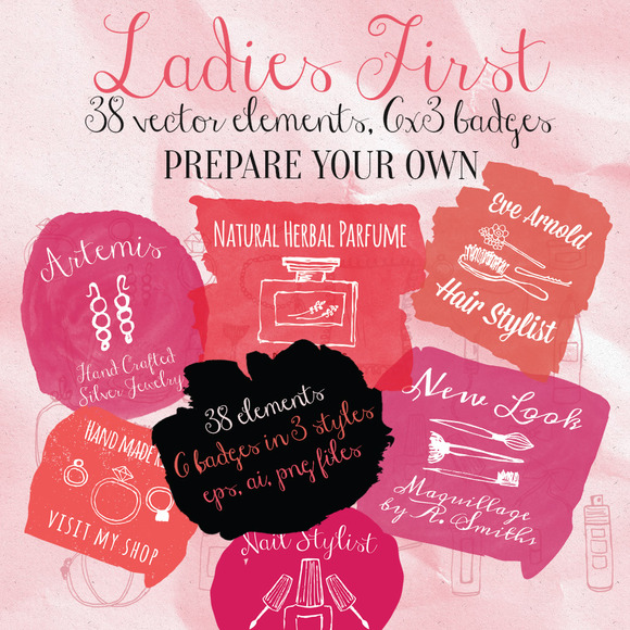Ladies First Vector Badges