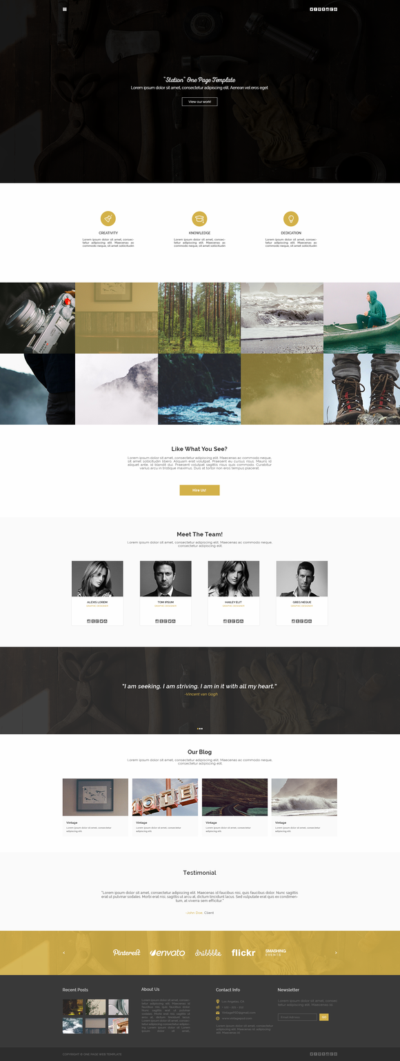 Station One Page PSD Template