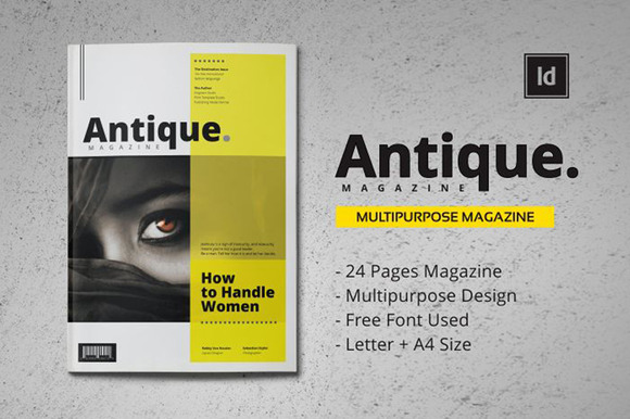 antique mgzn template magazine templates on creative market. Black Bedroom Furniture Sets. Home Design Ideas
