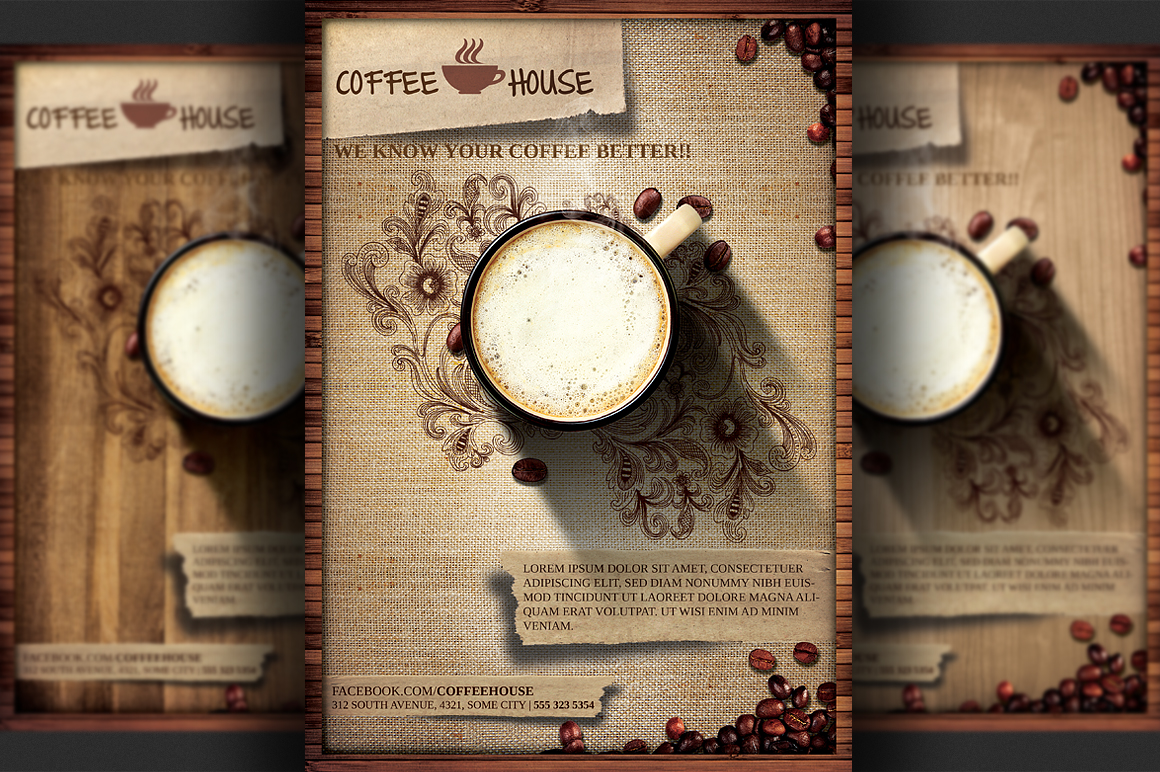 Coffee shop grand opening flyer poster template design ... |New Coffee Shop Flyer