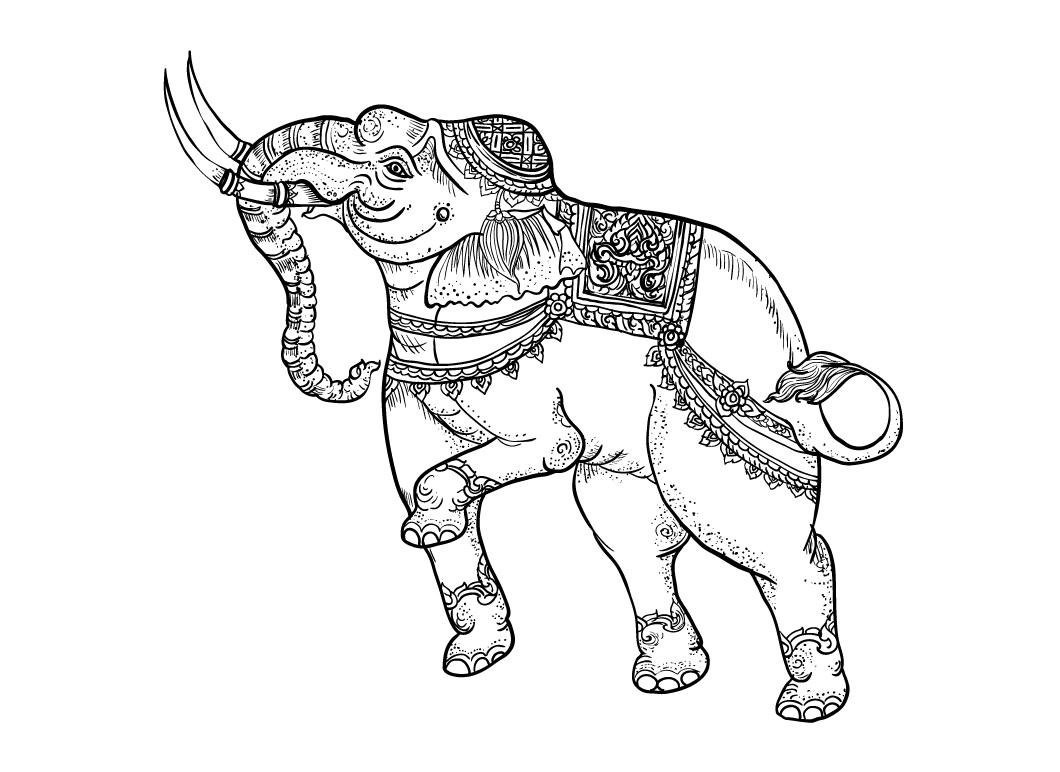 White elephant,traditional thai art ~ Illustrations on ...