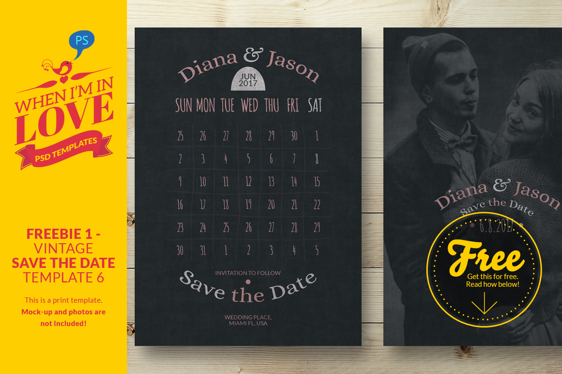 Freebie 1 vintage save the date 6 invitation templates for Vintage save the date templates free