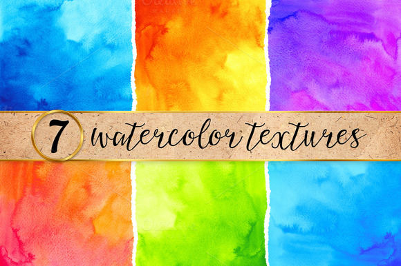 7 bright watercolor backgrounds - Textures - 1