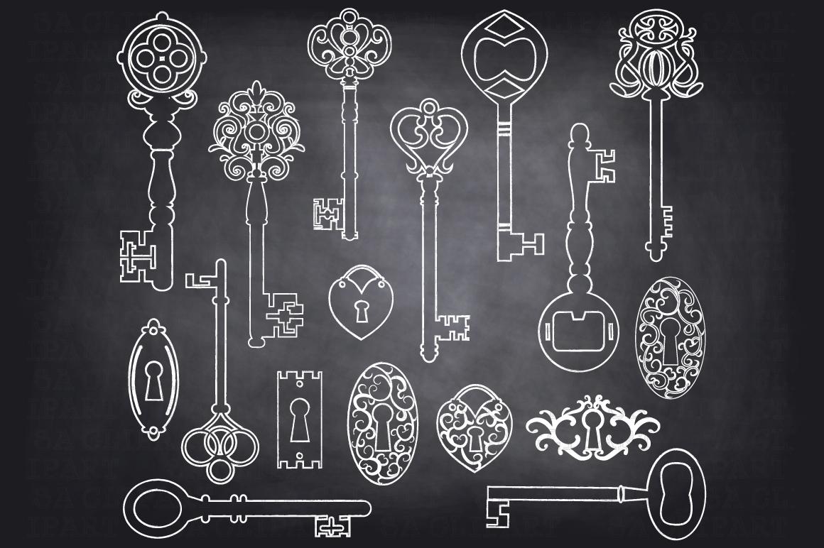 chalkboard keys silhouette clipart