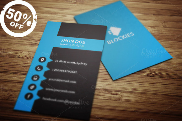 Vertical Business Card Template V.1 ~ Business Card Templates on ...