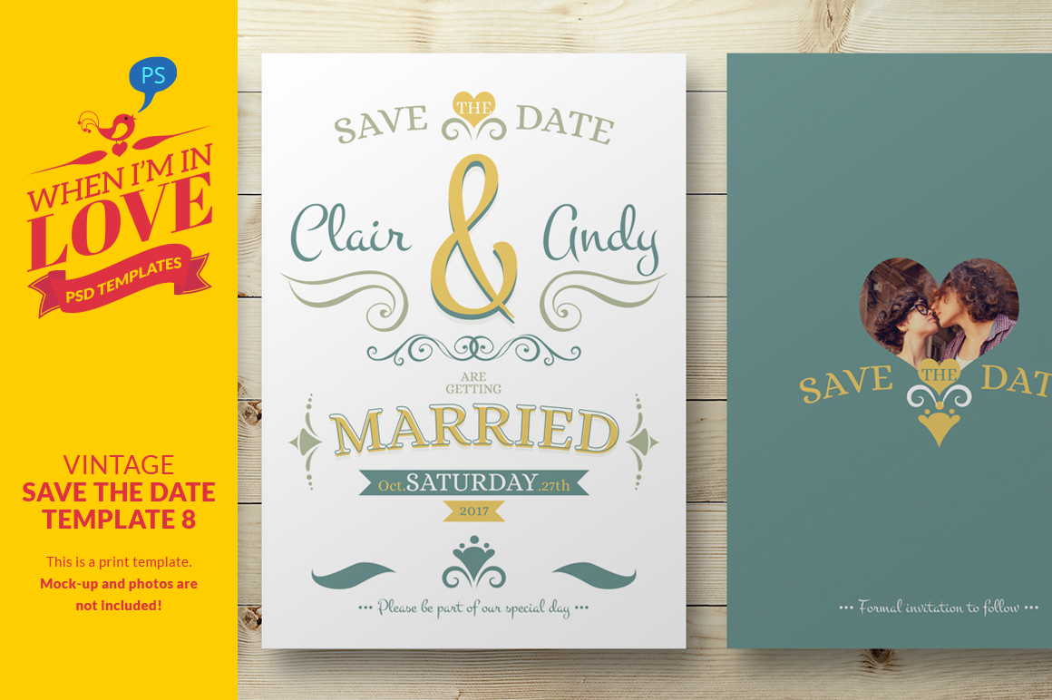 Vintage save the date template 8 invitation templates on for Free vintage save the date templates