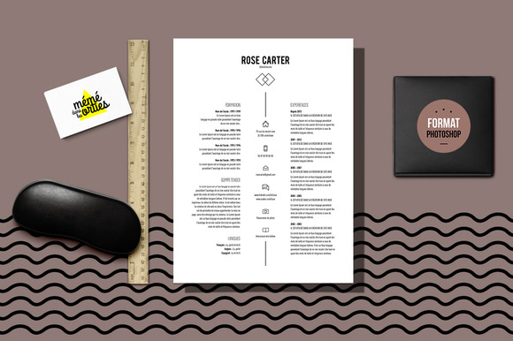 carter resume template photoshop resume templates on creative market. Black Bedroom Furniture Sets. Home Design Ideas