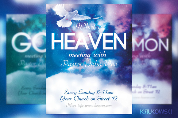 Heaven church flyer flyer templates on creative market for Church brochure templates free