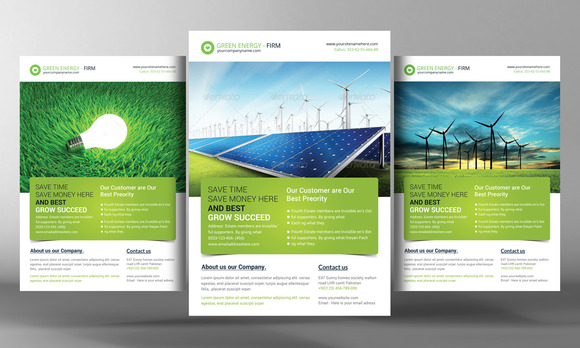 green energy flyer template flyer templates on creative market. Black Bedroom Furniture Sets. Home Design Ideas