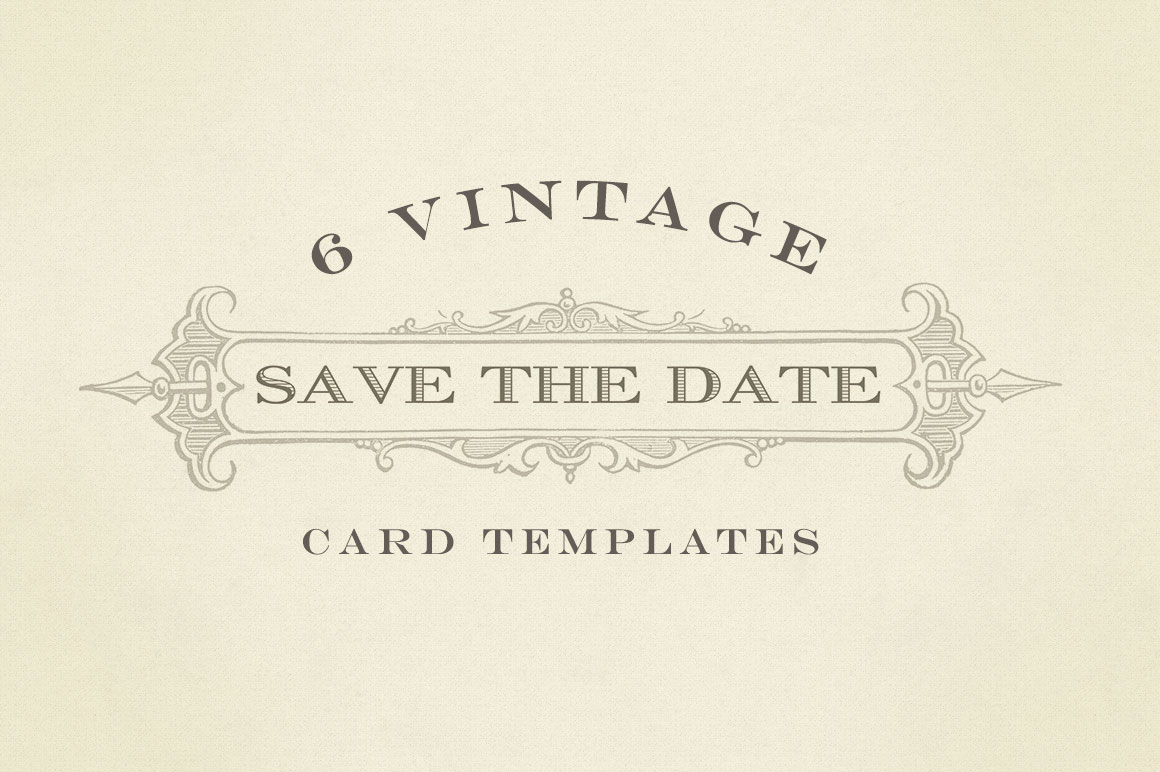 Vintage save the date graphics card templates on for Free vintage save the date templates