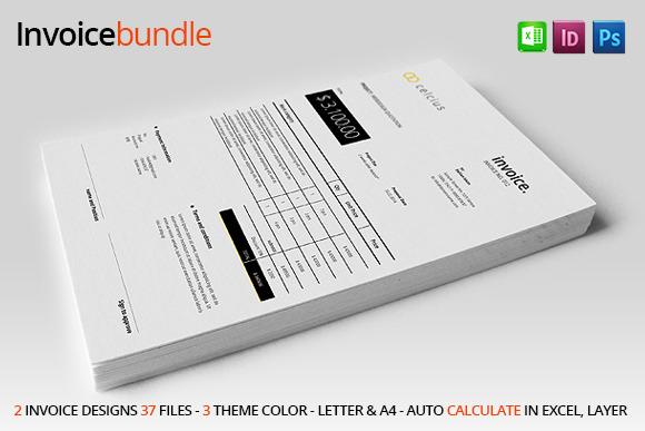 2 simple invoice stationery templates on creative market. Black Bedroom Furniture Sets. Home Design Ideas