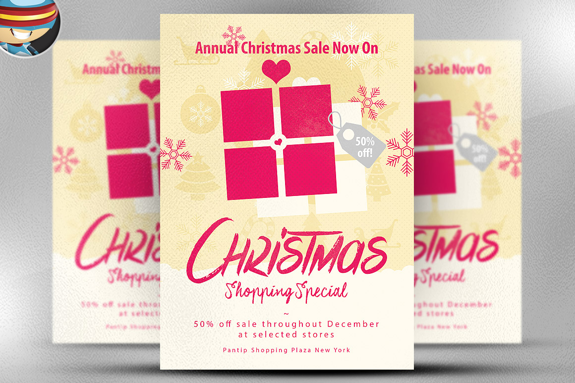 christmas sale flyer template flyer templates on creative market. Black Bedroom Furniture Sets. Home Design Ideas