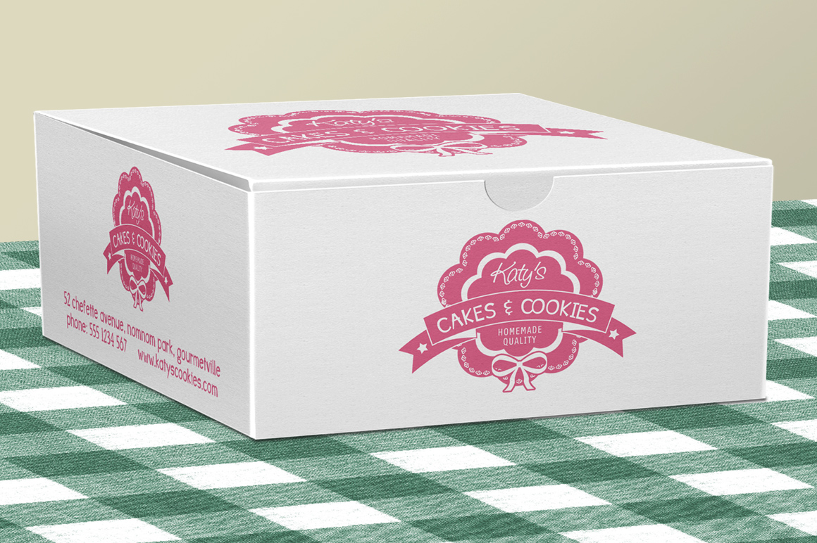Cake Box For Bakery Pastries Product Mockups On Creative