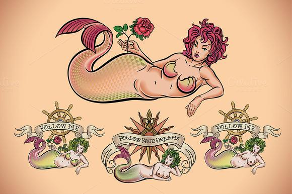 Old School Tattoo Of A Mermaid