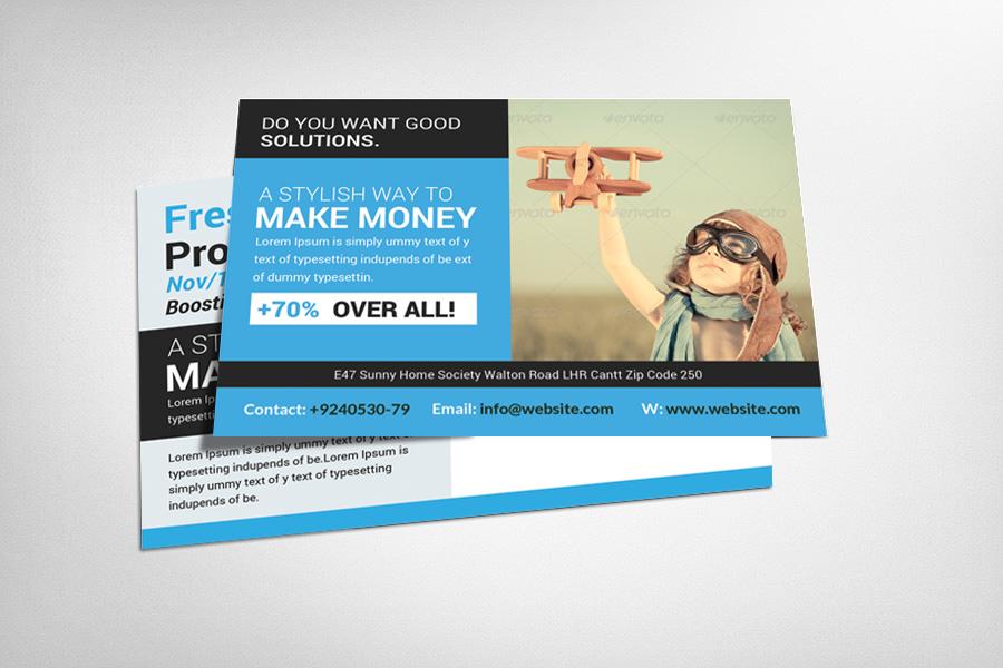 Custom Card Template advertising cards templates : Business Marketing Postcard Template ~ Card Templates on Creative ...