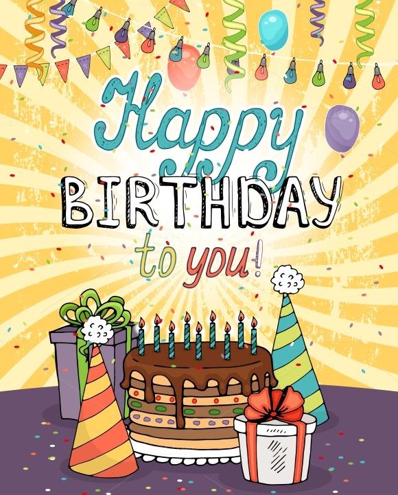 happy birthday greeting card  illustrations on creative