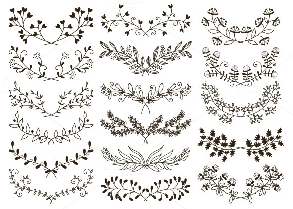 Hand drawn wreaths Vector | Free Download