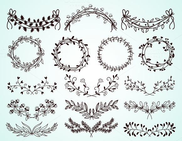 hand-drawn floral borders and wreath ~ Illustrations on ...