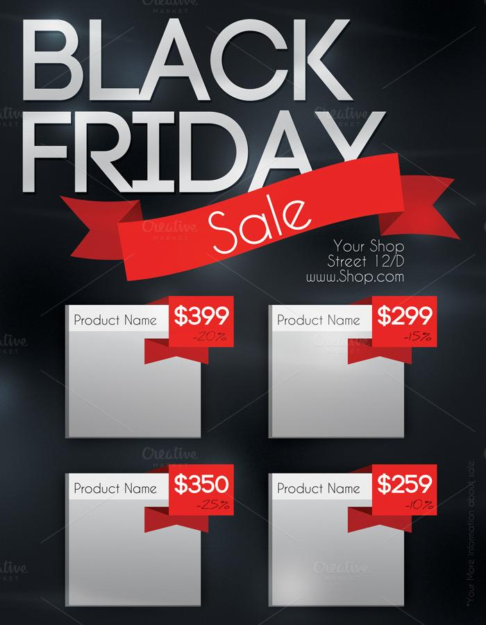 black friday sale flyer flyer templates on creative market. Black Bedroom Furniture Sets. Home Design Ideas