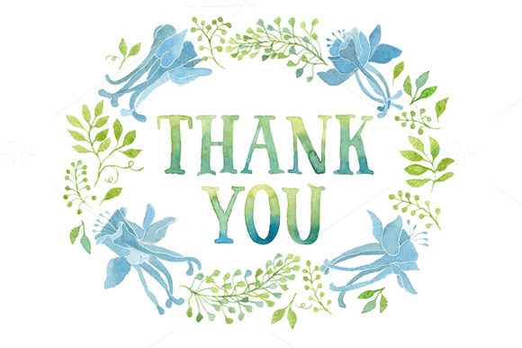 Thank you tag in blue flowers wreath ~ Illustrations on Creative ...