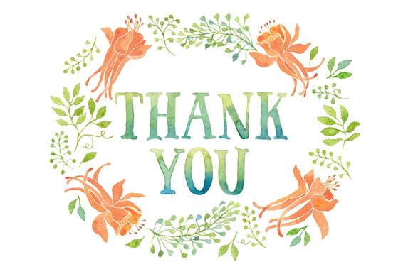 Thank You Tag Orange Flowers Wreath