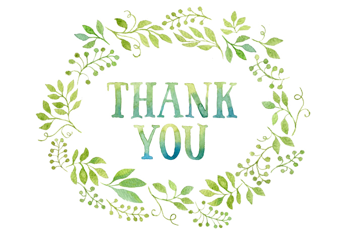 Thank You Tag In Green Leaves Wreath Illustrations On