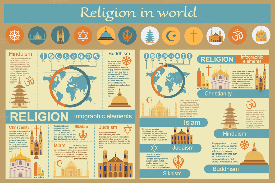 Religion In World Infographics Illustrations On Creative