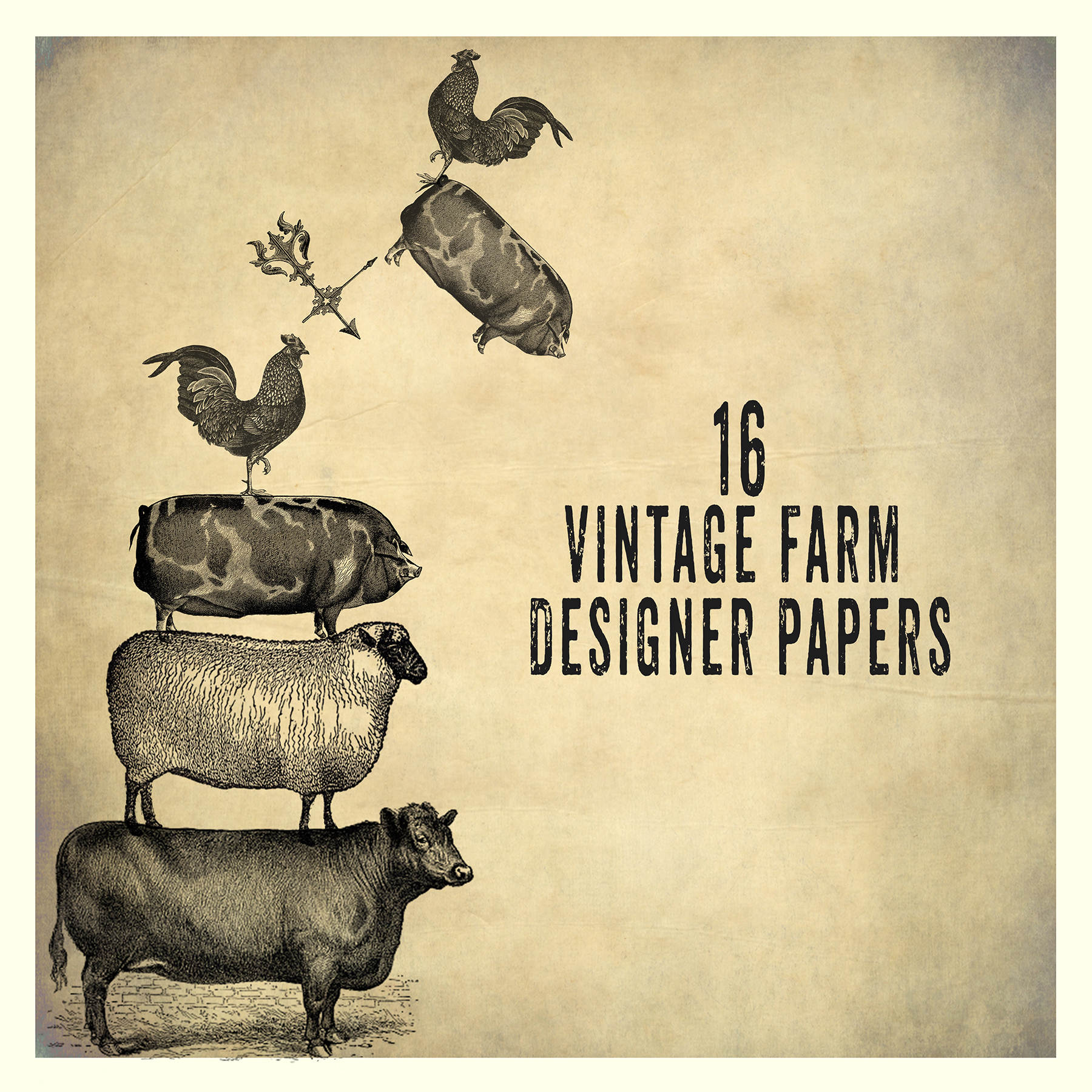 Vintage Farm Background Papers Patterns On Creative Market
