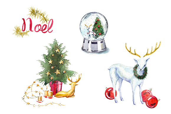 Watercolor Christmas clipart set ~ Illustrations on ...