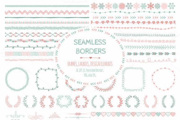 Doodle Seamless Borders Elements