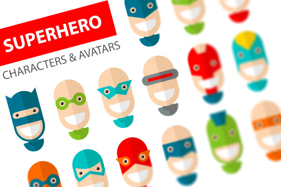 15 Happy Superhero Character Icons + 20 fUNNY Faces Flat Design