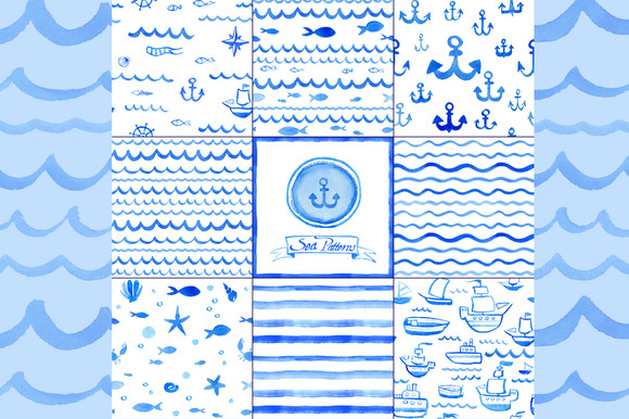 Watercolor Nautical Patterns