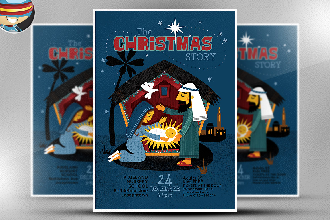 christmas nativity flyer template