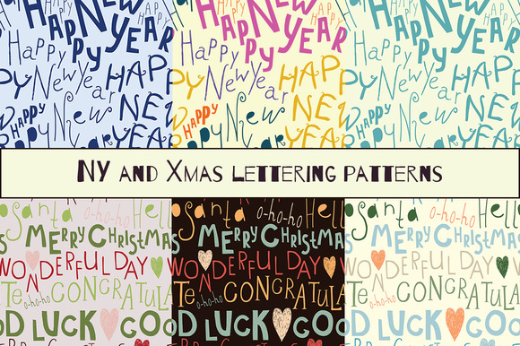 New Year And Xmas Lettering Patterns