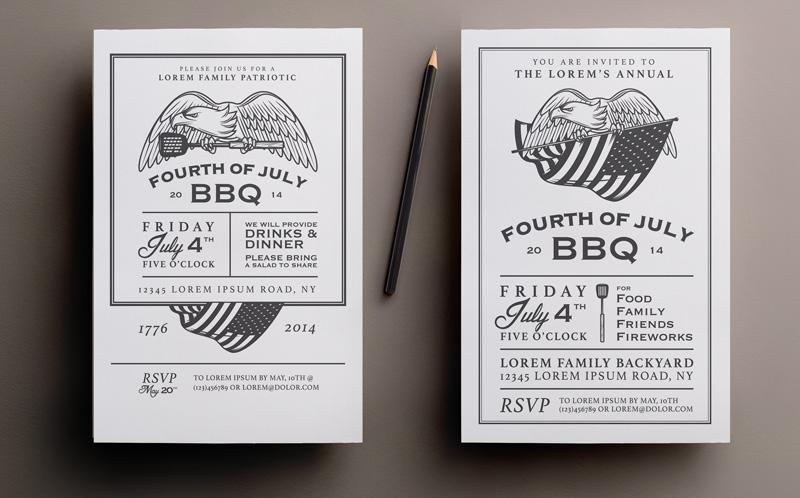 Two 4th of July bbq invitations ~ Invitation Templates on Creative Market