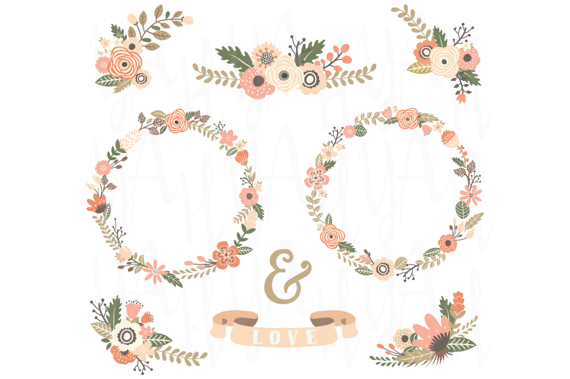 Vintage Floral Wreath Set Illustrations on Creative Market
