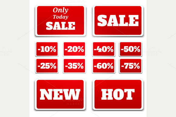 Sale Stickers Red Color