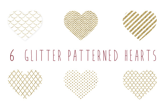... patterned gold hearts clip a ~ Illustrations on Creative Market