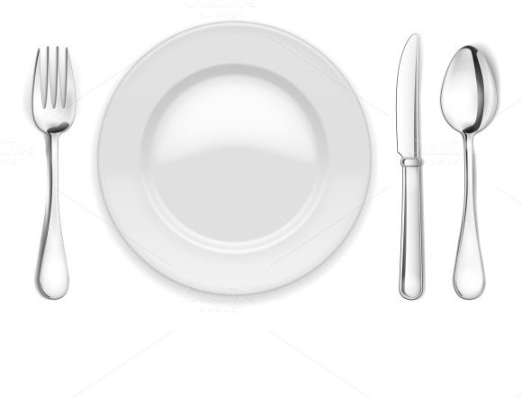 empty plate, spoon and fork ~ Objects on Creative Market