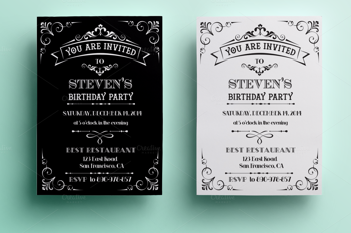 Vintage Birthday Invitation Invitation Templates On
