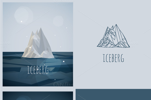 vector low-poly iceberg. poster - Illustrations