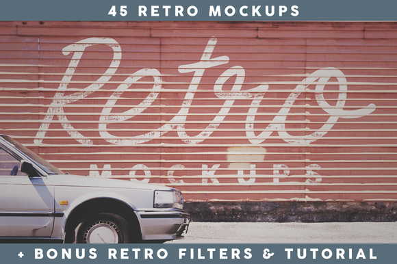 45 Retro Mockups (+BONUS) - Product Mockups - 1